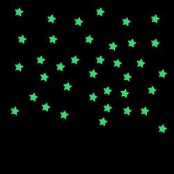Elaco 100PC Kids Bedroom Fluorescent Glow In The Dark Stars Wall Stickers (Blue)