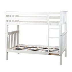 Max & Lily Solid Wood Twin over Twin Bunk Bed, White