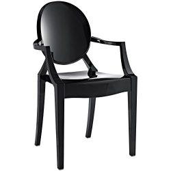 Modway Casper Modern Acrylic Dining Armchair in Black