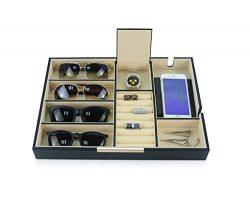 Black Carbon Valet Tray Glasses Case Phone Organizer Desk Dresser Drawer Coin Case Catch-all for ...
