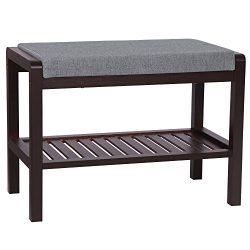 SONGMICS Bamboo Shoe Bench Rack with Cushion Upholstered Padded Seat Storage Shelf Bench for Ent ...