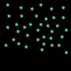 100PCs Luminous Stars Wall Stickers,Hemlock Kids Bedroom Fluorescent Stars (Pink)