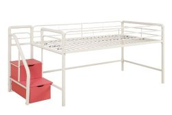 DHP Junior Twin Metal Loft Bed with Storage Steps, Space-Saving Solution, Multifunctional, White ...