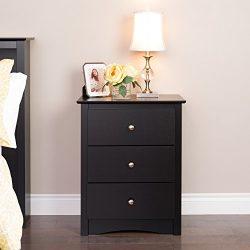 Prepac BDC-2403 Sonoma Nightstand, Tall 3-Drawer, Black