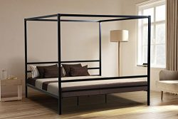 Oliver Smith – Modern Heavy Duty Black Iron Metal Platform Canopy Bed with Slats / No Box  ...