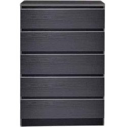 5 Drawer Dresser Chest Black Wood Grain Bedroom Furniture