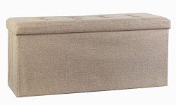 Storage Ottoman,Folding Storage Bench, Linen-like Fabric and Foldable Stool Thickening Sponge fo ...