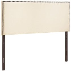 Modway 4-Inch Region Nailhead Upholstered Headboard, King, Ivory