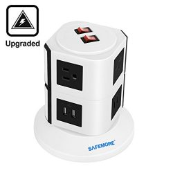Safemore 6 Outlet Surge Protector Power Strip with USB Smart Charger (4 Port,5V 2.1A), AWG14 6.5 ...