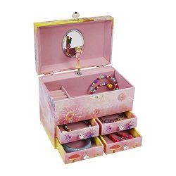 JewelKeeper Fairy and Flowers Large Musical Jewelry Storage Box with 4 Pullout Drawers, GirlR ...