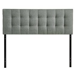 Modway Lily Upholstered Tufted Fabric Headboard King Size In Gray