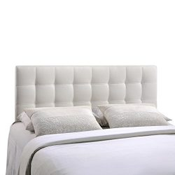 Modway Lily Upholstered Tufted Vinyl Headboard Queen Size In White