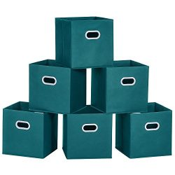 MaidMAX Cloth Storage Bins Cubes Baskets Containers with Dual Plastic Handles for Home Closet Be ...