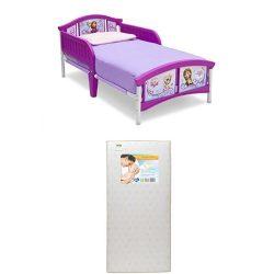 Delta Children Plastic Toddler Bed, Disney Frozen  with Twinkle Stars Crib & Toddler Mattress