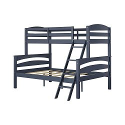 Dorel Living Brady Twin over Full Solid Wood Kid's Bunk Bed with Ladder, Graphite Blue