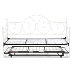 Caroline Complete Metal Daybed with Link Spring and Trundle Bed Pop-Up Frame, Antique White Fini ...