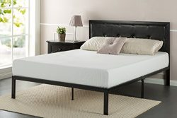 Zinus Faux Leather Classic Platform Bed Frame with Steel Support Slats, Queen