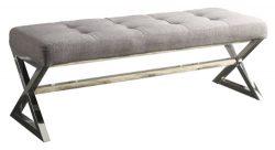 Homelegance 4605GY Metal Base Bench, Grey