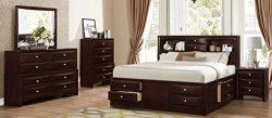Roundhill Furniture Ankara Wood Bedroom Set, Includes Queen Bed, Dresser Mirror with Nightstand, ...