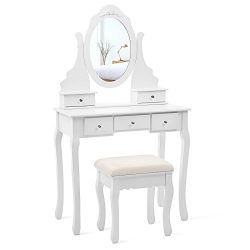 SONGMICS Vanity Set with Mirror and Stool Make-up Dressing Table 5 Drawers with 2 Dividers White ...