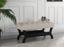 Modern Ultra Tufted Accent Bench – Linen Fabric Tufted Button Plush Bench (Beige)
