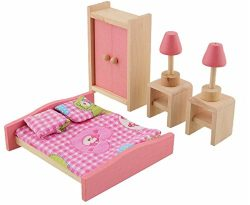 Glamorway Baby Kids Play Pretend Toy Design Wooden Doll Furniture Dollhouse Miniature Toy Childr ...