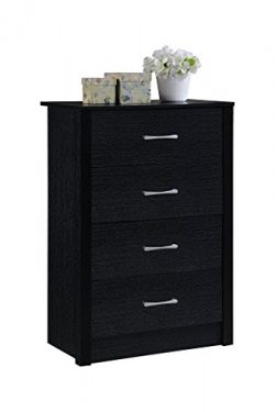 Hodedah 4 Drawer Chest, with Metal Gliding Rails, Black