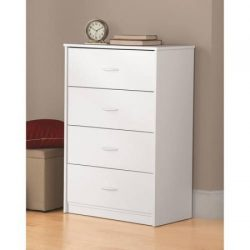 Traditional and Easy Glide 4 Drawer Dresser (White Stipple)