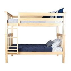 Max & Lily Solid Wood Twin over Twin Bunk Bed, Natural