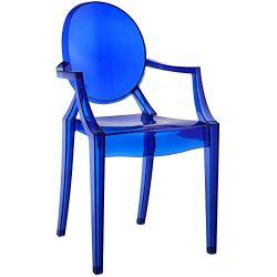 Modway Casper Modern Acrylic Dining Armchair in Blue