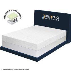 Best Price Mattress 8″ Memory Foam Mattress & New Innovative Box Spring Set, King, White