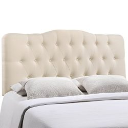 Modway Annabel Upholstered Tufted Button Fabric Headboard Queen Size In Ivory