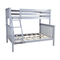 Max & Lily Solid Wood Twin over Full Bunk Bed, Grey