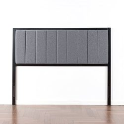 Zinus Banded Grey Upholstered Metal Headboard, King