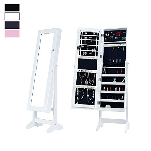 Cloud Mountain Mirrored Jewelry Cabinet Free Standing Lockable Jewelry Armoire Full Length Floor ...