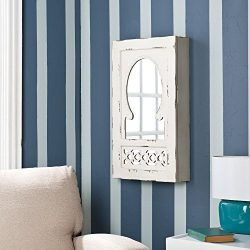 Vintage Mirrored Jewelry Armoire Picturesque Features Magnetic Closure and Removable Tray, Wall  ...