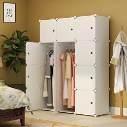 KOUSI Portable Clothes Closet Wardrobe Bedroom Armoire Storage Organizer with Doors, Capacious & ...