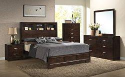 Roundhill Furniture Montana Modern 5-Piece Wood Bedroom Set with Bed, Dresser, Mirror, Nightstan ...