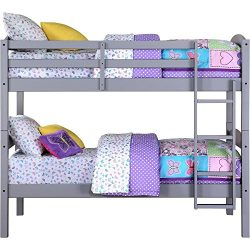 Easy-to-Convert to Twin Bed Practical Space Saver Wood Bunk Bed, Multiple Finishes with Sturdy F ...