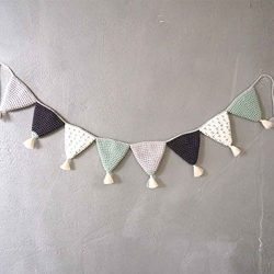 Handmade Cotton Wall Hanging Triangle Flag Children Bedroom Furniture Decorative Wall Art Baby G ...