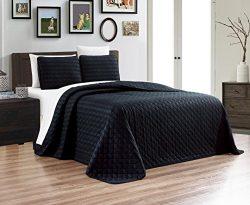 3-Piece Dobby Stripe Oversize (100″ X 95″) Quilt Set Reversible Bedspread FULL / QUE ...
