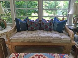 Home of Wool / Tufted Wool-Filled Daybed Cushion / 4″ thick / Zippered Cotton, Linen or Bl ...