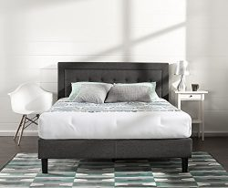 Zinus Upholstered Button Tufted Premium Platform Bed with less than 3 Inch spacing Wooden Slat S ...