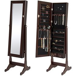 Best Choice Products Mirrored Jewelry Cabinet Armoire W/ Stand Rings, Necklaces, Bracelets Brown
