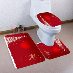 3PCs Toilet mats,Hemlock Christmas Bathroom Non-Slip Pedestal Rug Lid Toilet Cover Bath Mat Set (M)