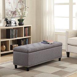 Belleze 48″ Rectangular Gray Storage Fabric Ottoman Bench Tufted Footrest Lift Top