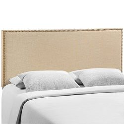 Modway Region Upholstered Linen Headboard Queen Size With Nailhead Trim In Cafe