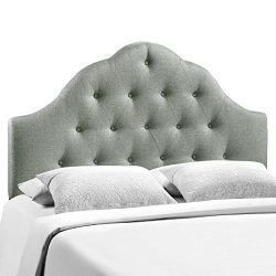 Modway Sovereign Upholstered Tufted Button Fabric Headboard Full Size In Gray