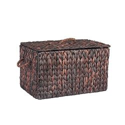 Household Essentials ML-6610B Large Wicker Storage Box with Lid – 12.2″H x 20″ ...