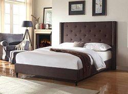 Home Life Premiere Classics Cloth Brown Linen 51″ Tall Headboard Platform Bed with Slats F ...